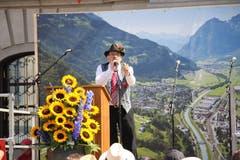 Richi Bertini sorgte als «Glarner Zigermanndli» für manchen Lacher. (Bild: Carmen Epp (Altdorf, 1. August 2018))