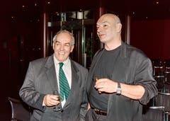 Akustiker Russell Johnson (links) und Architekt Jean Nouvel 1997. (Bild: Archiv KKL)