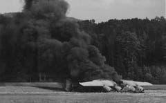 Die Besatzung hatte den Langstreckenbomber, der bei einem Angriff auf Wiener Neustadt von Nordafrika aus beschädigt worden war, in Brand gesteckt, weil sie glaubte, sich auf deutschem Gebiet zu befinden. (Bild: Warbird.ch)