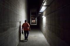 "Der ""Echogang"" liegt zwischen den beiden Fahrbahnen des Rosenbergtunnels, nahe des Ostportals. (Bild: Urs Bucher)"