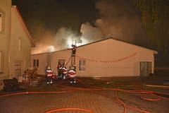 Die Feuerwehrleute versuchen, alle Glutnester zu erreichen. (Bild: Kapo TG)