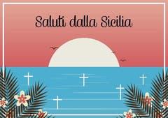 Sizilien - die Sonne versinkt im Mittelmeerfriedhof: Postkarte von Luca Capretti.
