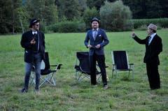 Die Jungwacht Sempach erhält in ihrem Lager in Bischofszell TG Besuch von drei Herren der «Cosa Nostra». (Bild: Jan Hummel/Luca Arnold)