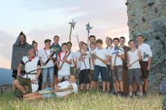 Die Pfädeler aus Arth-Goldau auf der Schlossruine Neu Falkenstein. (Lagerbild: Sunny, Balsthal, 7. Juli 2018)