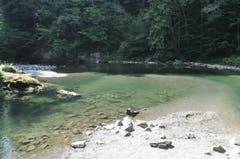 Wenige Meter unterhalb der Brandholzbrücke bei Ebnat-Kappel sammelt sich das Thurwasser in einem Becken. (Bild: Sabine Schmid)