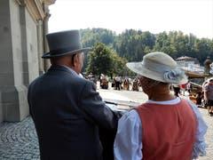 """Zufällig wurden wir Zeugen von diesem wunderschönen """"Drehorgel-Treffen"""", das offenbar nur alle zwei Jahre stattfindet. Aufgenommen auf dem Klosterplatz Einsiedeln. (Bild: Margrith Imhof-Röthlin (Einsiedeln, 19. August 2018))"""
