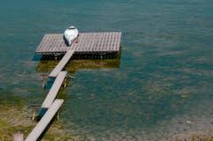 Der Wasserstand ist deutlich tiefer dieses Jahr am Strandbad Buchhorn in Arbon. (Bild: Adriana Cardozo)