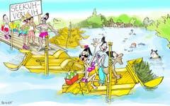 Eine neue Einnahmequelle! In der Stadtkasse herrscht Ebbe, in der Frauenbadi breitet sich Seegras aus. Warum nicht die Probleme auf einen Schlag lösen: Der schwimmende Rasenmäher, der das Seegras bekämpft, liesse sich doch - wie andernorts Pedalos - an Badegäste vermieten. Der «Seekuh»-Verleih schwemmt nicht nur Geld in die Kasse, die Mäharbeit würde gleich auch noch von den Badegästen erledigt. (Illustration: Corinne Bromundt - 11. August 2018)