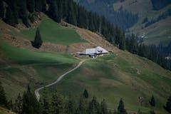 Die Alphütte der Familie Achermann aus der Ferne. Bild: Corinne Glanzmann (Flühli, 08. August 2018)