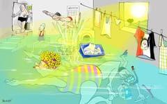 Von wegen Rekordtrockenheit! Seit Wochen ächzen Städterinnen und Städter unter der anhaltenden Sommerhitze. Einige hatten am 1. August aber Glück: Beim Super-Gewitter liefen ihnen die Keller voll. Eigentlich ärgerlich, auf der Suche nach Abkühlung kommt die improvisierte Badi in der Waschküche aber gerade recht. (Illustration: Corinne Bromundt - 4. August 2018)