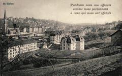 Die Ruckhaldekurve auf einer Ansichtskarte mit Sinnspruch aus den 1920er-Jahren. (Bild: Stadtarchiv Ortsbürgergemeinde St.Gallen)