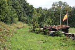 Das Bahntrassee auf Höhe der letzten Hüttchen des Familiengartens vor der Ruckhaldekurve heute: eine langsam zuwachsende Narbe quer über den Hang. (Bild: Reto Voneschen)