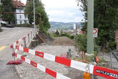 Das Bahntrassee heute mit «Fahrtrichtung» vom Riethüsli zum Güterbahnhof: die frühere Querung der Hochwachtstrasse. (Bild: Reto Voneschen)