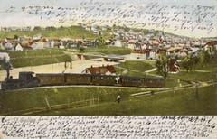 Die Ruckhaldekurve auf einer Ansicht vor 1901. Im Hintergrund fehlt noch die Kirche St.Otmar. (Bild: Stadtarchiv der Ortsbürgergemeinde St.Gallen)