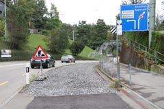 Auf der «Passhöhe» vor dem Riethüsli-Quartier: Links geht's nach der Passerelle via Demutstrasse nach St.Georgen, rechts geht's überland Richtung Altstätten und Appenzell. (Bild: Reto Voneschen)