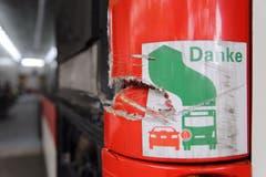 Der beschädigte Bus befindet sich im Depot. (Bild: Raphael Rohner)