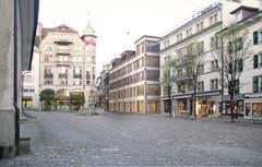 Der geplante Neubau (Bildmitte) am Kapellplatz von Joos & Mathys Zürich. (Visualisierung).