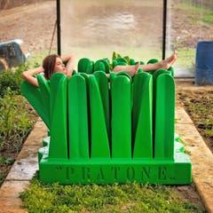 Die Pratone Liegewiese wurde 1971 von Riccardo Rosso, Piero Derossi und Giorgio Ceretti entworfen. Das Kunstobjekt wie auch Liegemöbel ist ein Sinnbild der kulturellen Anti-Design-Revolution. Die hüfthohen Grashalme aus Polyurethan-Schaumstoff sollen Menschen von Zwängen befreien und sie dazu animieren, sich einfach fallen zu lassen.