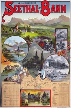 Plakat mit Fahrplan, 1894.