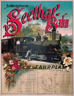 Plakat mit Fahrplan, 1897.