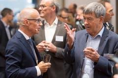 Der St.Galler alt Regierungsrat Willi Haag (rechts) im Gespräch mit Stadtpräsident Thomas Scheitlin. (Bild: Urs Bucher)