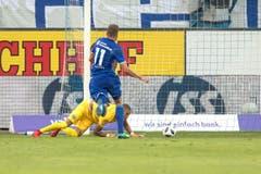 Luzerns Pascal Schürpf verpasst einen Treffer. (Bild: Pius Amrein (Luzern, 4. August 2018))