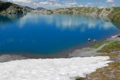 Vorne Schnee und das Bad im blauen See auf der 5-Seen-Wanderung im Pizolgebiet (Bild: Rolf Herzer)