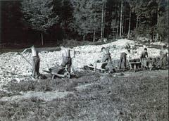 Die im Arbeitslager Lienz-Sennwald eingesetzten Arbeitslosen räumten in harter Handarbeit den Schutt weg, der von einem schweren Unwetter im Frühsommer 1938 herrührte. (Bild: Staatsarchiv St.Gallen)