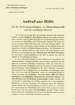 Aufruf zur Hilfe – Flugblatt der Hilfsdienstkommission Lienz und Sennwald und des Kantonalen Aktionskomitees für Arbeitsbeschaffung von 1938. (Bild: Staatsarchiv St.Gallen)