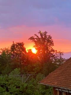 Sonnenaufgang gesehen aus dem Küchenfenster in Steinach. (Bild: Angela Bühler)