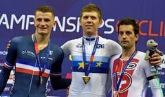 Der Waadtländer Tristan Marguet (rechts) belegte im Scratch den dritten Platz (Bild: EPA/GERRY PENNY)