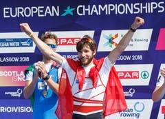 Er holte die erste Goldmedaille für unser Land in Glasgow. Der Luzerner Ruderer Michael Schmid hat seinen EM-Titel im nicht-olympischen Leichtgewichts-Einer erfolgreich verteidigt. (Bild: EPA/ROBERT PERRY)