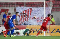 Und auch das Tor zum 2:0 erzielt Lazaros Christodoulopoulos. (Bild: Martin Meienberger, Piräus, 9. August 2018)