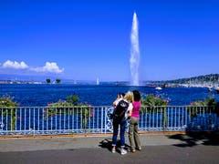 Riesenwasserfontäne: 500 Liter pro Sekunde mit 200 km/h auf bis zu 140 Meter Höhe. (Bild: Josef Müller (Genf, 9. September 2018))