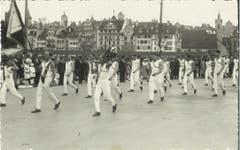 Einzug im kantonalen Turnfest in der Stadt Luzern im Jahr 1935. (Bild: PD)