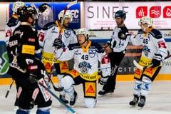 Carl Klingberg (dritter von rechts) trifft zum 0:2. (Bild: Pascal Müller / Freshfocus (Fribourg, 25. September 2018))