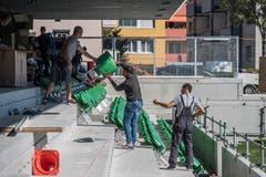 Die Stühle sind im typischen «SC-Kriens-Grün» gehalten. Bild: Pius Amrein (Kriens, 26. September 2018)