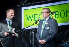 OK-Präsident Heinz Schadegg spricht mit Moderator Christoph Lanter über die Neuerungen der Wega. Um 11.25 eröffnet Schadegg offiziell die Wega. Bild: Andrea Stalder