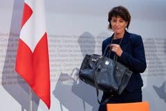 Doris Leuthard erklät den Medien ihren Rücktritt auf Ende 2018. (Bild: Anthony Anex/Keystone (Bern, 27. September 2018))