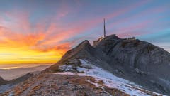 Sonnenuntergang vom Lisengrat in Richtung Säntis. (Bild: Thomas Lutz)