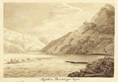 Blick von der Schifflände Trübbach gegen den Schollberg, im Vordergrund zwei Fährschiffe, gegenüber das Gestell des Fährseils, das über den Fluss gespannt ist. (Heinrich Schilbach 1818, Liechtensteinisches Landesmuseum). (Bild: Sven Beham)