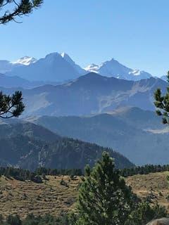 Blick vom Fürstein auf die Berner Bergriesen Eiger, Mönch und Jungfrau. (Bild: Fredi Meyer, 27. August 2018))