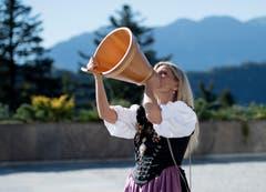 Die Entlebucher Jodlerin Franziska Wigger-Lötscher bei ihrer Vorführung. (Bild: Corinne Glanzmann (Bürgenstock, 28. September 2018))