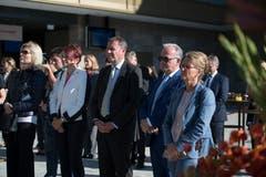 Geladene Gäste an der offiziellen Eröffnung: die Nidwaldner Regierungsrätin Michèle Blöchliger (2.v.l.) und rechts von ihr Amtskollegen Othmar Villiger, Joe Christen und Karin Kayser-Frutschi. (Bild: Corinne Glanzmann (Bürgenstock, 28. September 2018))