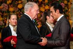 Bundesrat Johann Schneider-Ammann (links) im Gespräch mit Scheich Nawaf bin Jassim bin Jabor Al-Thani. (Bild: Philipp Schmidli, 28. September 2018)