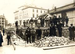 Nach 1912 wurde die Strecke vor der Grabenhalle (rechts im Bild) zugemauert. (Bild: Stadtarchiv der Ortsbürgergemeinde St.Gallen)