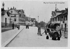 Fuhrwerke über dem alten Tunnel. (Bild: Stadtarchiv der Ortsbürgergemeinde St.Gallen)