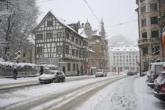 Der Burggraben im Schneegestöber. (Bild: Stadtpolizei St.Gallen - 10. Januar 2019)