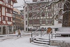 Schneetreiben in der Stadt St. Gallen. (Bild: Franziska Hörler)