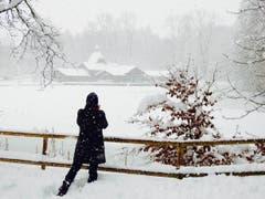 Die Frauenbadi und der Chrüzweier im Schnee sind beliebte Fotomotive. (Leserbild: Uli Butz - 6. Januar 2019)